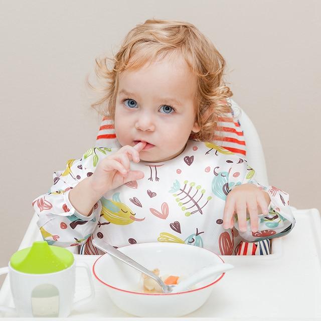Baby Bibs Baby Waterproof Full Sleeve Bibs Cartoon Animal Child Long Sleeve eating tools Apron Coverall Feeding Bibs 2