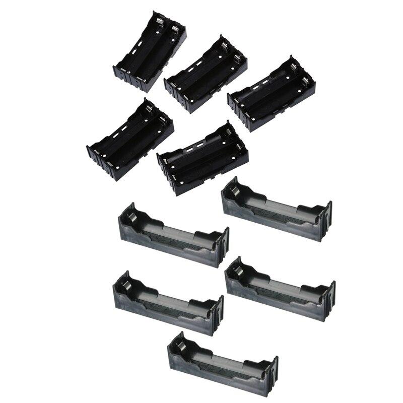 Baterías de plástico negro 3,7 V 18650, funda porta baterías de 4 pines y 2 pines 10 Uds.
