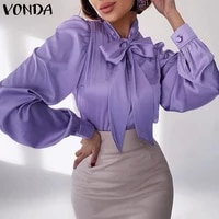 spring tops vonda 2021 women long sleeve o neck bow blouses s ladies casual puff sleeve pleated office shirts party blusas