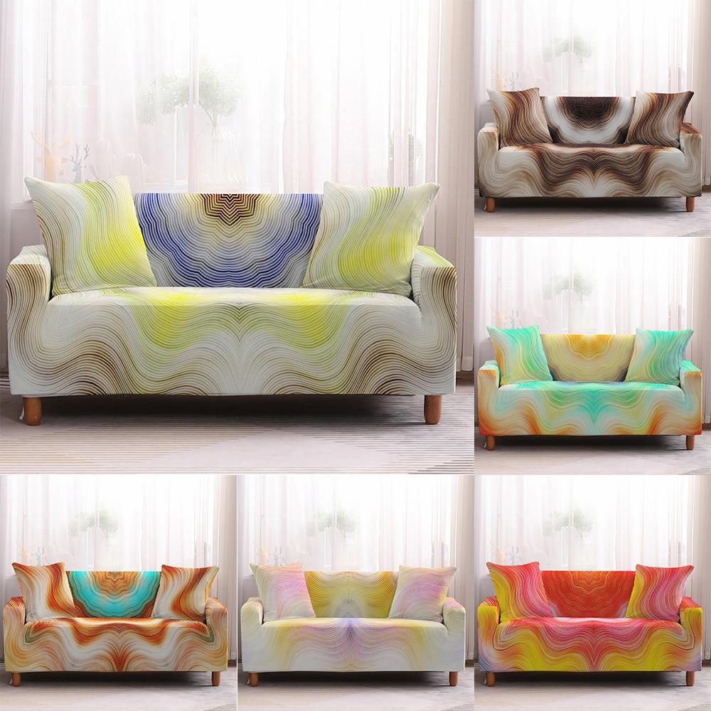 Чехол на 1/2/3/4 сиденья с волнистым узором, чехол для дивана, эластичный подходящий защитный чехол для гостиной, нескользящий чехол для дивана... чехол