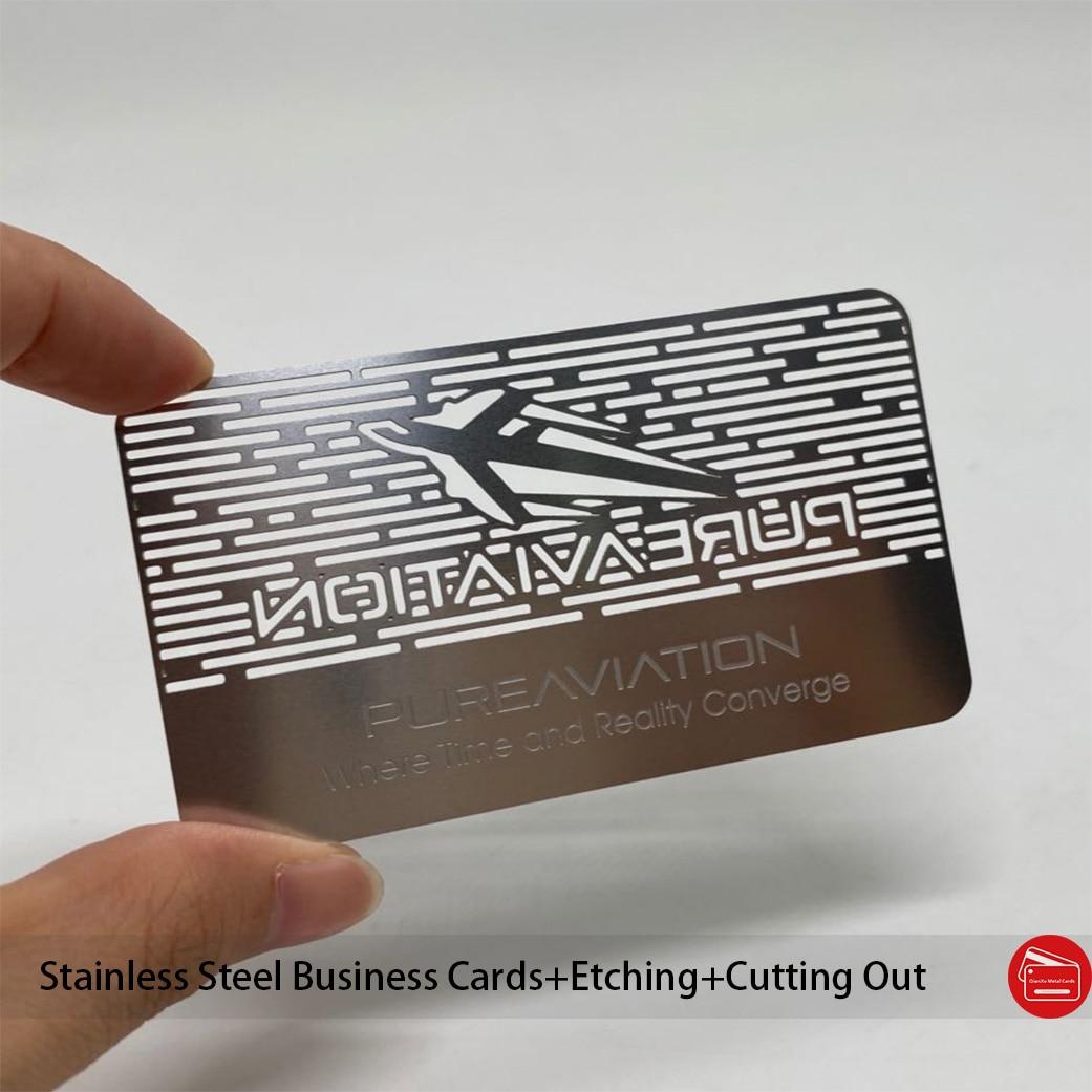 100 шт. визитные карточки из нержавеющей стали, химическое травление, трафаретная печать, цветной вырез логотипа