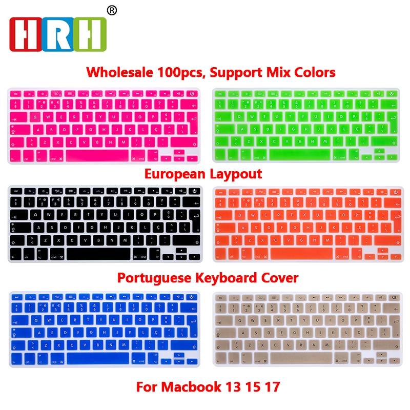 HRH Wholesale 100PCS Portuguese Silicone Keyboard Cover Skin Keyboard Protective Film for Mac Book Air 13.3 Keyboard Protector