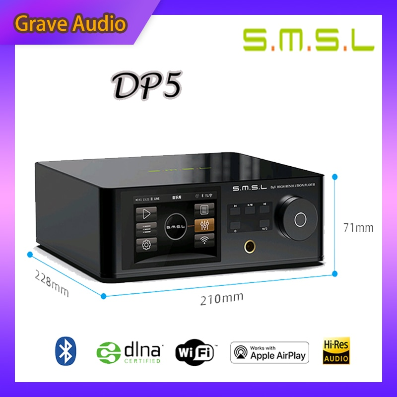 SMSL DP5 ES9038PRO MQA بلوتوث 4.0 لاعب الرقمية الدوار فك مضخم ضوت سماعات الأذن AirPlay دينا واي فاي DSD256