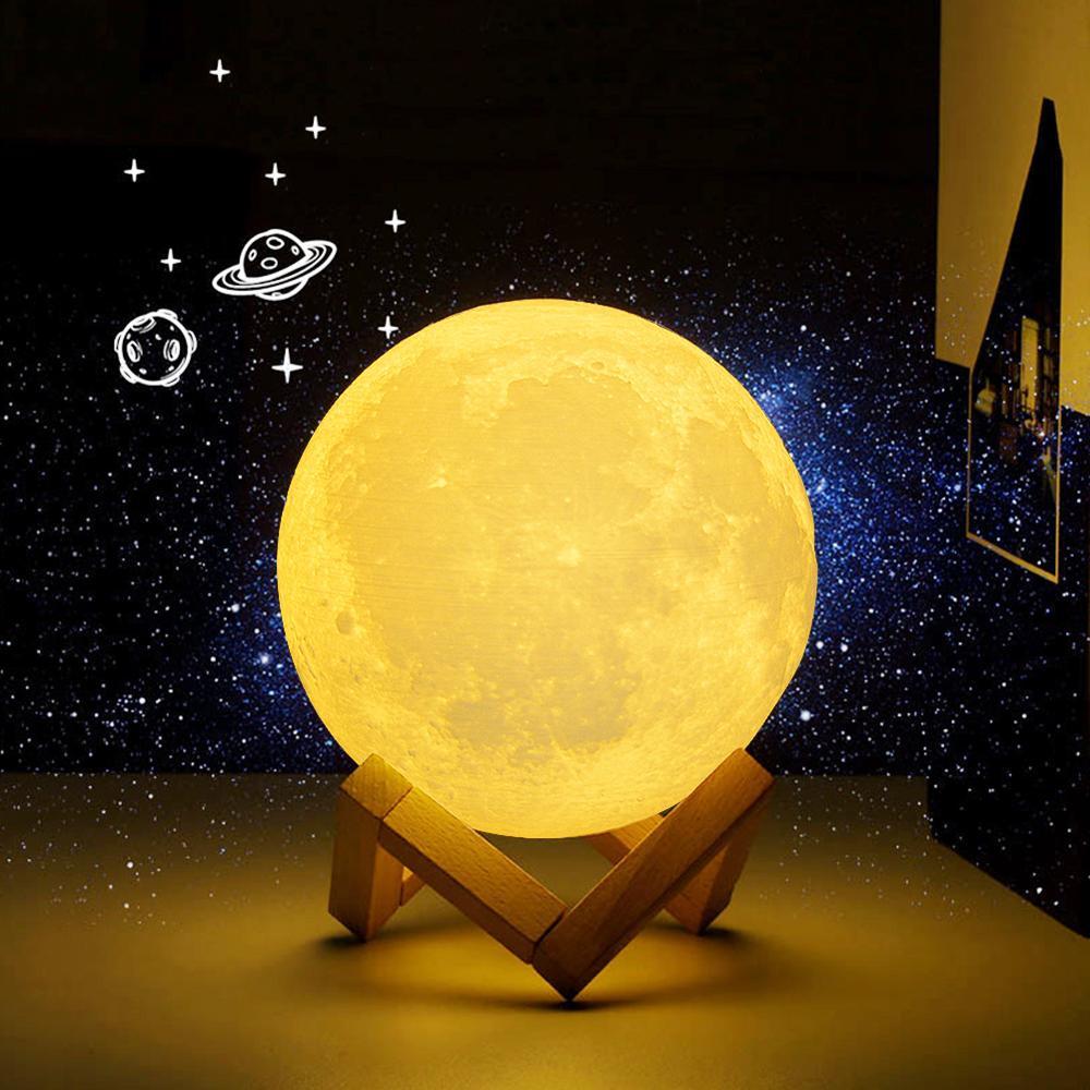 Novedad recargable 3D impresión Luna bombilla LED para lámpara Interruptor táctil atenuador escritorio Mesa dormitorio Decoración Para estantería regalo creativo para niños