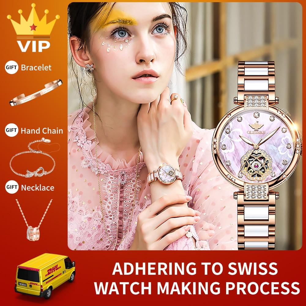 OUPINKE السيدات الموضة الميكانيكية ساعة الماس السيراميك الياقوت التلقائي Waterpoof فلاش ساعة ماسية النساء الهدايا 3183