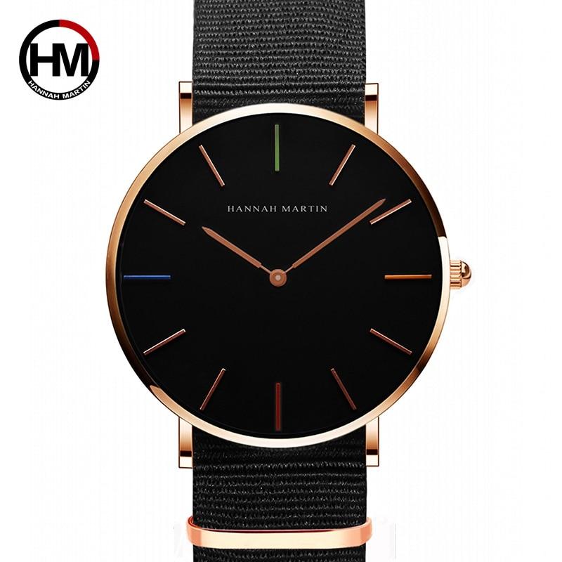 Japan Quartz Movement Men Women Unisex Simple Watch Top Brand Luxury Jewelry Waterproof Black Nylon Sport Fashion Wrist Watches