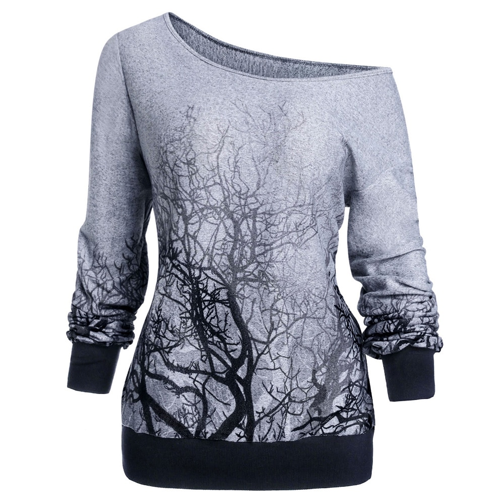 ROSEGAL 3XL printemps automne tricot gothique vestes à capuche femmes col rond à manches longues 3D arbre imprimer Halloween sweat-Shirt haut femme chemise