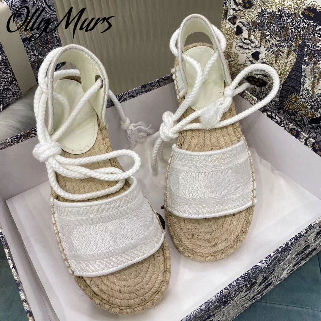 Ollymurs New Spring Summer Gladiator  Luxury Brand Sandals Open Toe Lace Up Flats Sandals Shoes Women