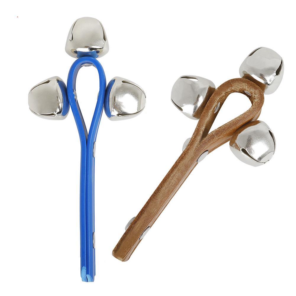 Niños Faux cuero y Cascabel juguetes niños Handheld 3 cascabel Faux cuero sonajero Musical instrumento sonajero de juguete para bebés regalo