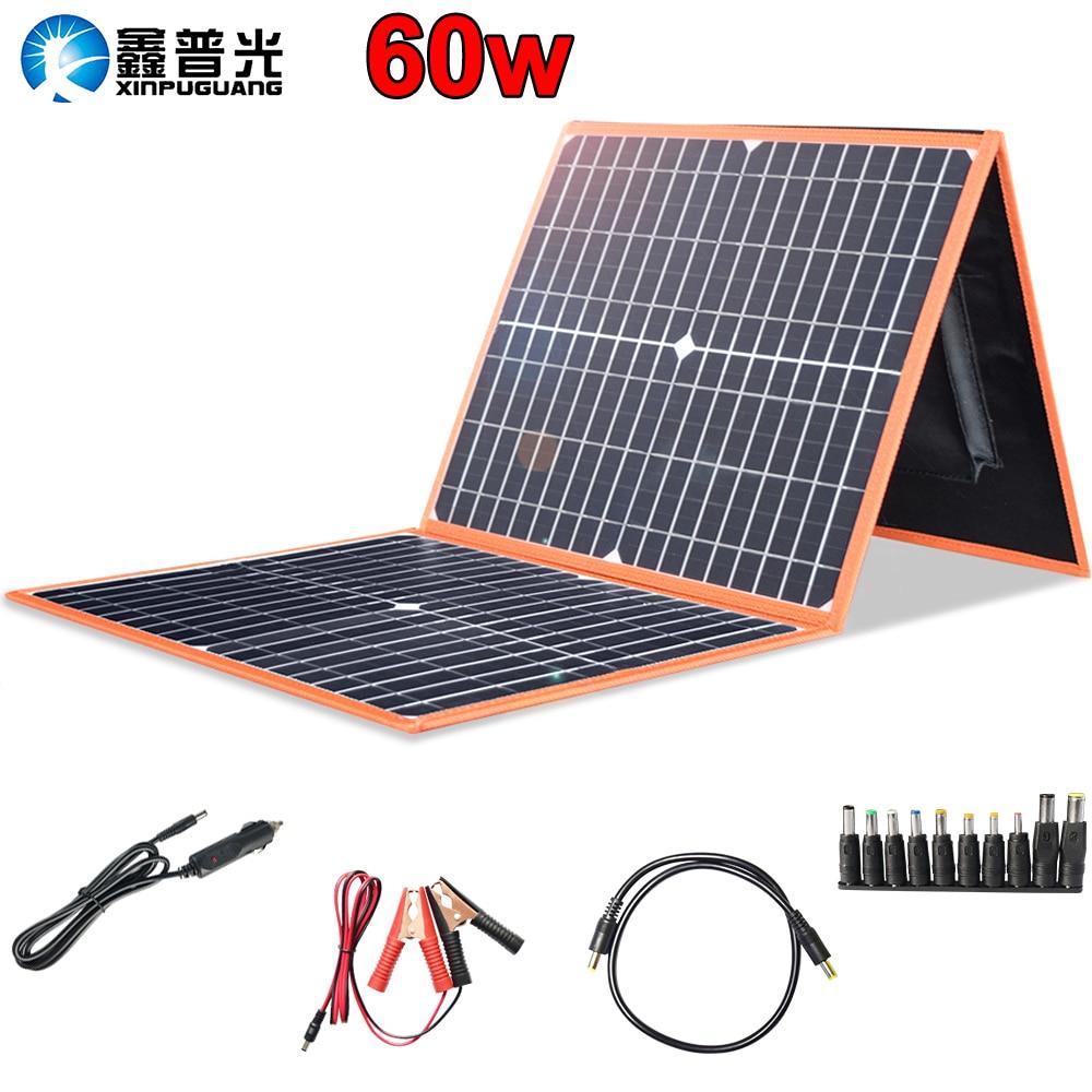 flexible solar panel foldable 12v 60w 50w battery charger home kit 5v usb for phone 12v car boat RV hiking camping travel China