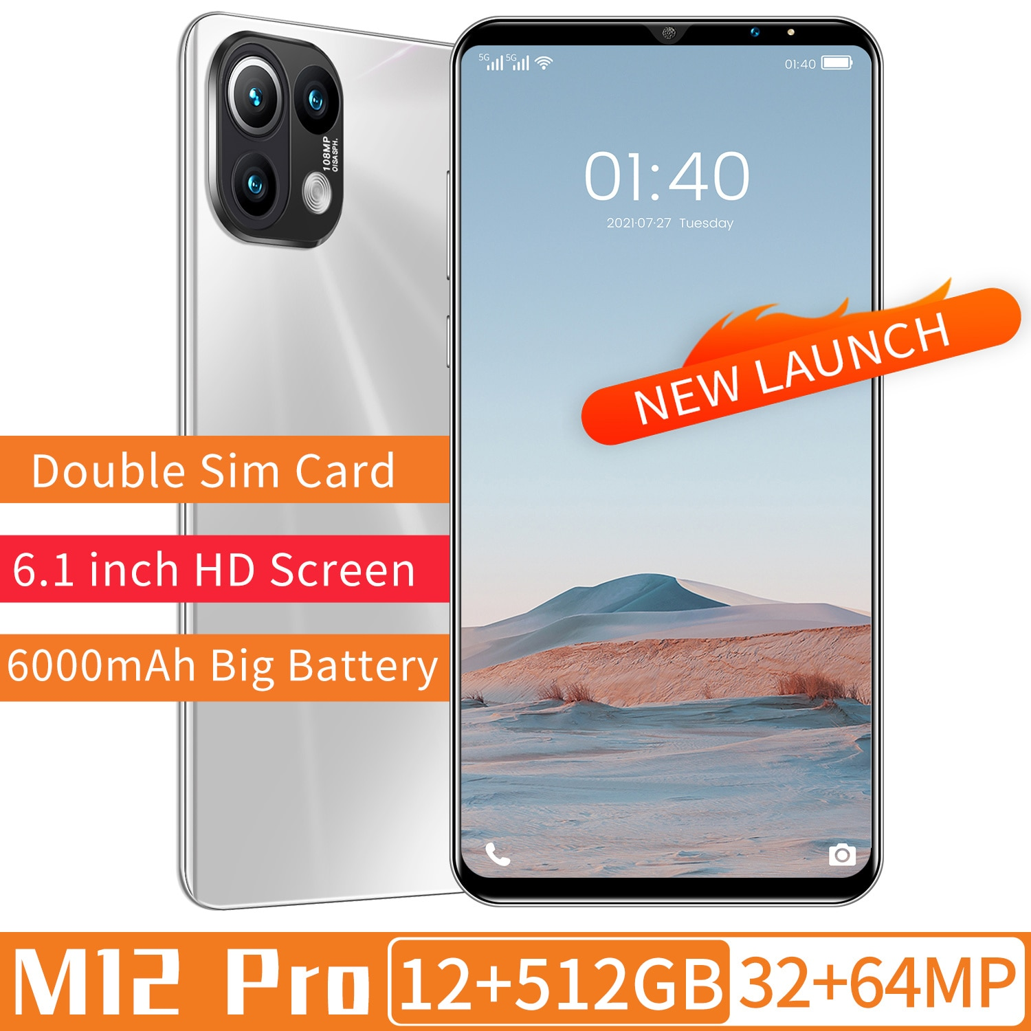 Global 5G Smart Phone 2021 M12 Pro Deca Core MTK6889 8+256GB Dual SIM Face ID 32+64MP 6000mAh Battery 6.1Inch Android11 Face ID