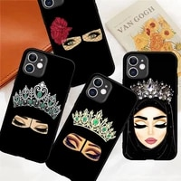 fashion arabic african girl eyes muslim phone case for iphone 12 mini 5 6 6s 7 8 se plus x xs xr 11 pro max coque silicone cover