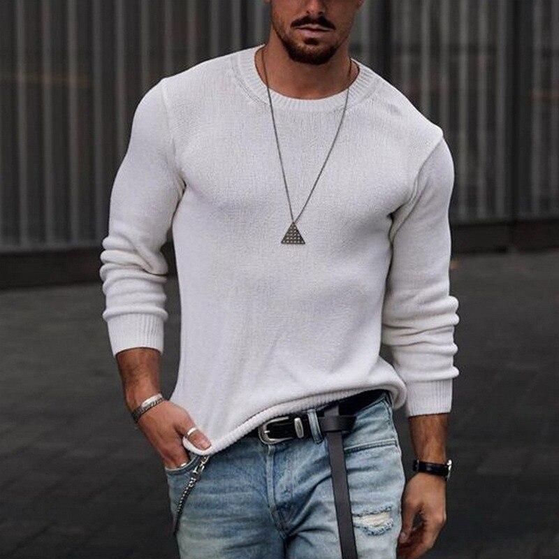 Мужской свитер с длинным рукавом, весна-осень 2021, модный мужской свитер с круглым вырезом, пуловеры, уличная одежда, повседневный однотонный...