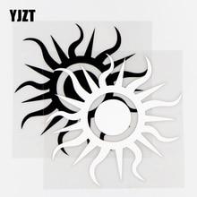 YJZT, 13,7 × 14 см, Виниловая наклейка с этническим солнцем, наклейка, персонализированная модификация тела, черный/серебристый, 10A-0535