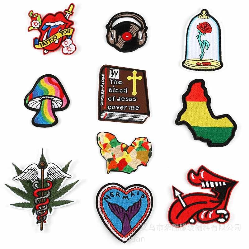 Novo colorido arco-íris cogumelo livro fone de ouvido língua flor na garrafa de ferro em remendos roupas bordadas para roupas por atacado