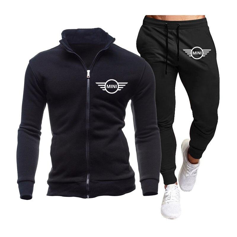 ربيع الخريف الصوف القطن الرجال 2 قطعة مجموعة صغيرة شعار اللياقة البدنية عادية الركض عالية الجودة الرجال جاكيتات + فستان أطفال مع سروال داخلي