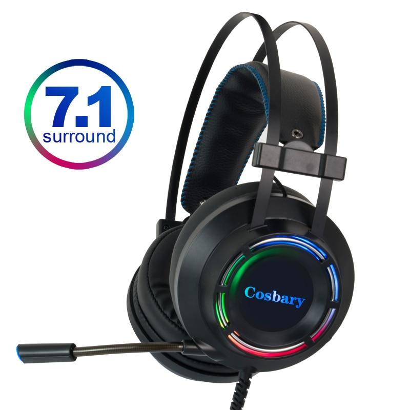 Cosbary سماعة الألعاب مع ميكروفون USB سماعة سلكية الظاهري 7.1 الصوت المحيطي ألعاب سماعات ل جهاز كمبيوتر شخصي محمول