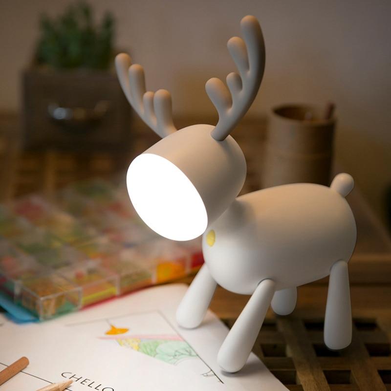 Elk رواية Ledusb الكرتون هدية الجدول مصباح USB قابلة للشحن أضواء ليلية دافئة للأطفال الكبار غرفة نوم مصباح الليل الدافئ للمنزل