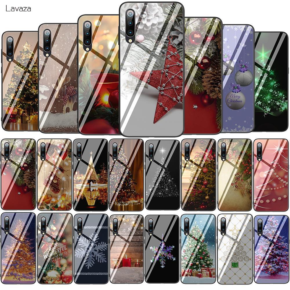 Lavaza noel tatil ağacı yeni yıl temperli cam yumuşak kılıf için xiaomi mi kırmızı mi not 5 6 7 Pro mi A1 A2 8 Lite 9 F1 TPU kapak