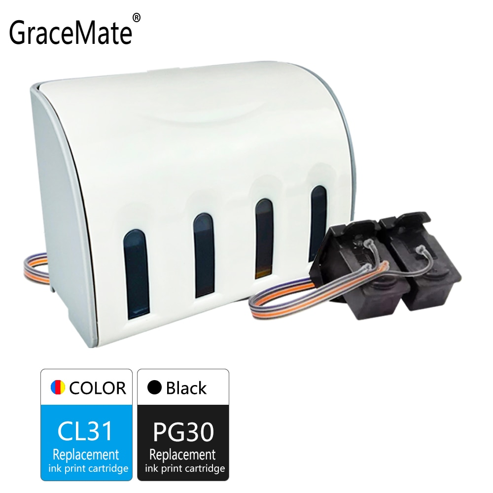 GraceMate PG30 CL31 XL CISS Bulk Ink Compatível para Canon PG30 CL31 para PIXMA IP1800 IP2600 MP140 MP210 MP470 MX300 Impressora