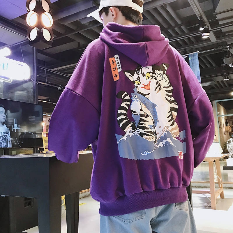 Sudaderas con capucha de gato divertido de moda para hombre 2019 sudaderas de Hip Hop Harajuku para hombre