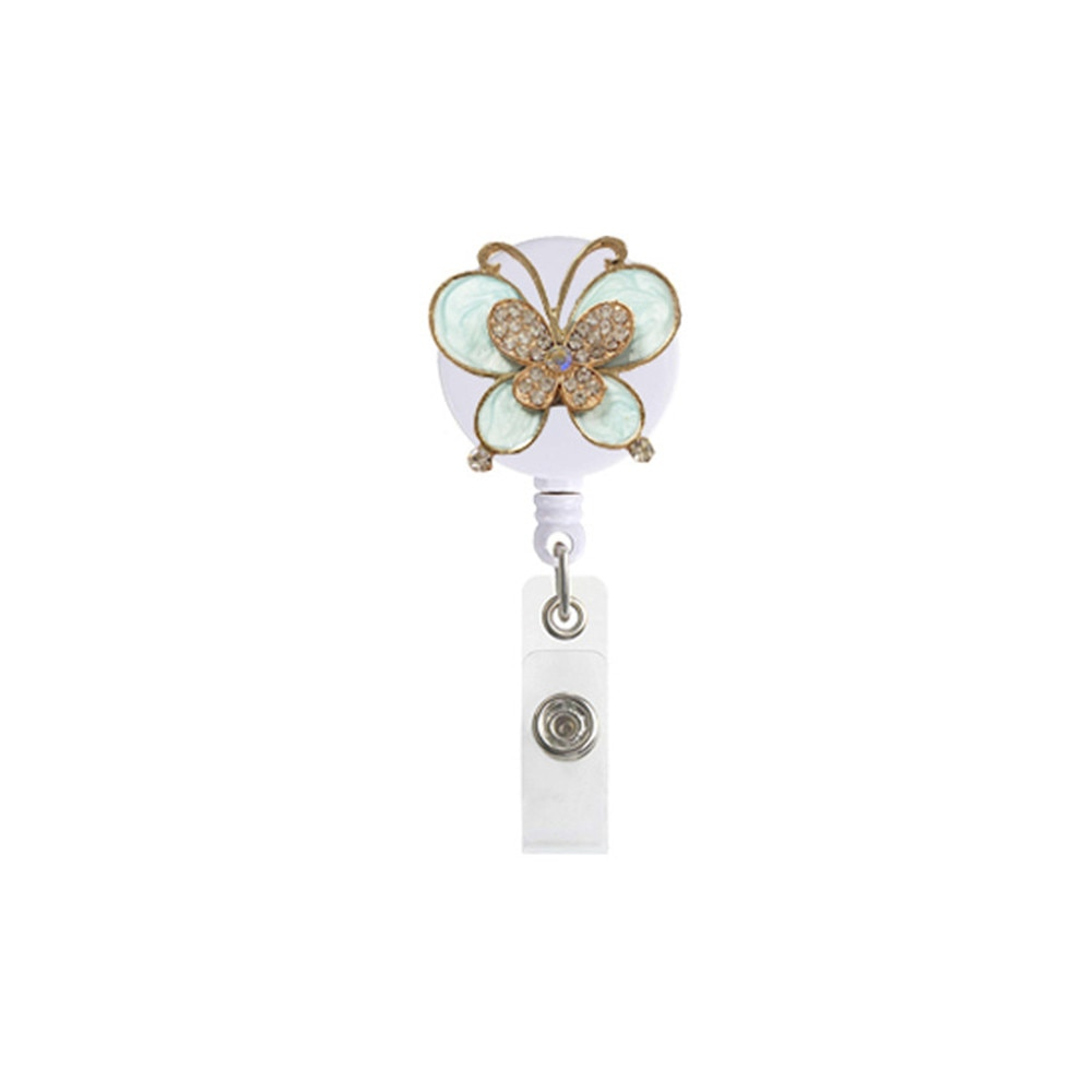 3 Colors Fashion Cute Vintage Butterfly Retractable Nurse Badge Reel Clip Badge Holder Students Doctor Id Card Holder Wholesale