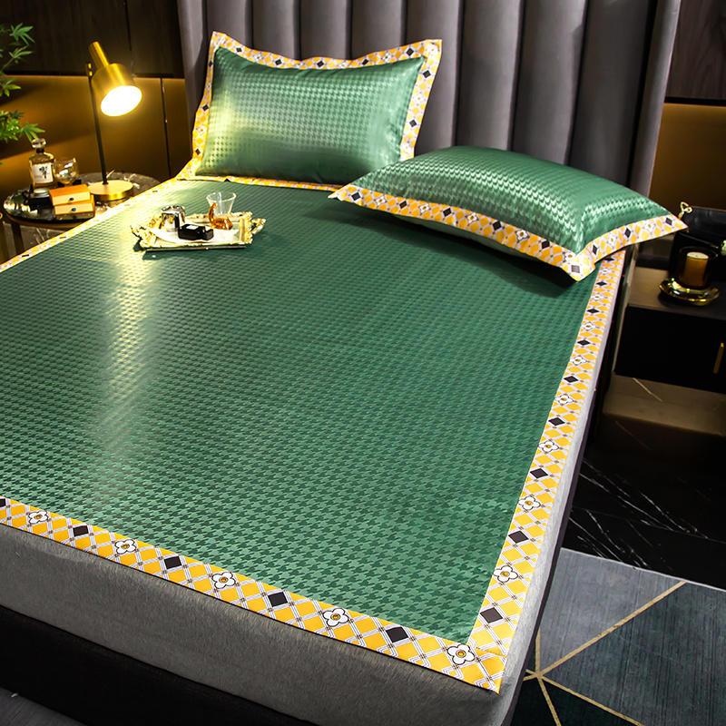 ثلاثة-قطعة الصيف بساط صغير منعش ل فراش (مرتبة) السرير سادة لينة Houndstooth و الفراش تنفس حصيرة للنوم ديكور غرفة نوم