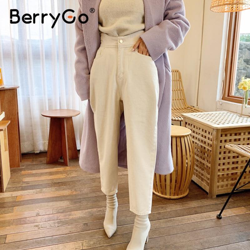 Pantalones de mujer BerryGo a la moda blanco crema tiro alto de algodón puro con botones tubo recto Pantalones Casual elegante otoño 2020