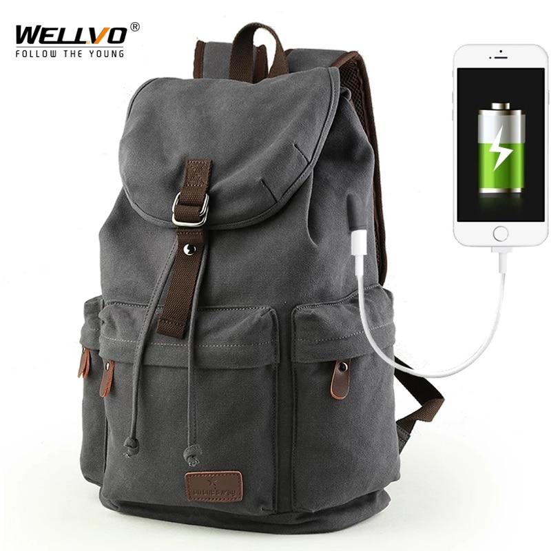 حقيبة ظهر قماشية للرجال ، حقيبة مدرسية للطلاب ، حقائب كمبيوتر محمول ، حقيبة سفر سعة كبيرة ، USB Mochila XA91WC