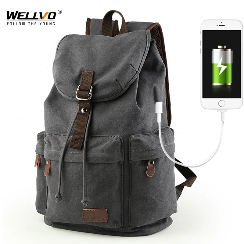 Men Canvas Bucket Backpack Students School Bag Casual Luggage Laptop bags Travel Large Capacity Rucksack USB Mochila XA91WC