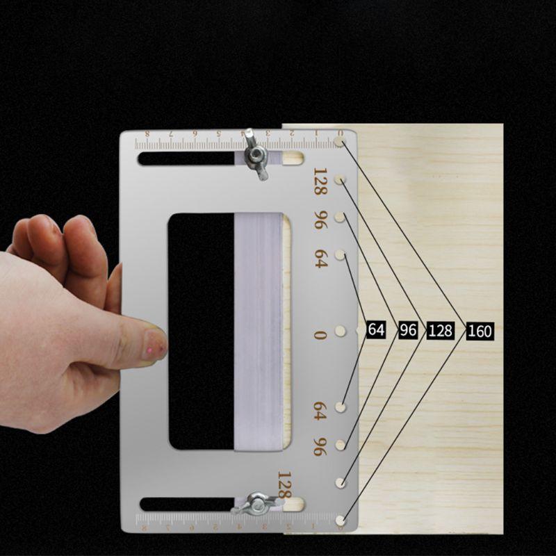 Accesorios del armario Jig Punch Locator carpintería taladro guía muebles herramienta de mango