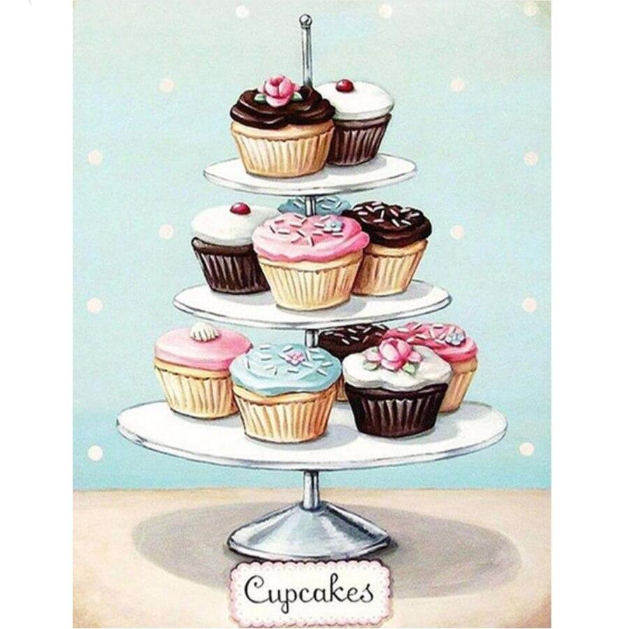 DIY diamante pinturas dulce Cupcakes diamante bordado mosaico Cruz puntada kits hogar cocina decoraciones artesanías hechas a mano L223