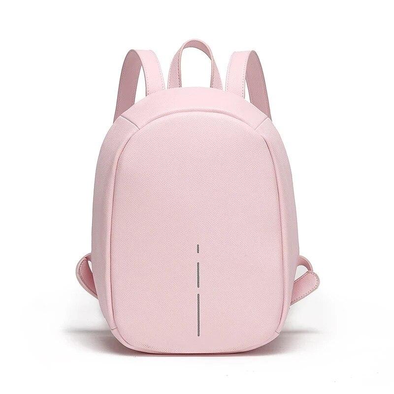 حقيبة ظهر من جلد البولي يوريثان للنساء ، حقيبة كتف صغيرة عصرية مضادة للسرقة ، حقيبة ظهر بخطوط عاكسة للبنات ، حقيبة مدرسية
