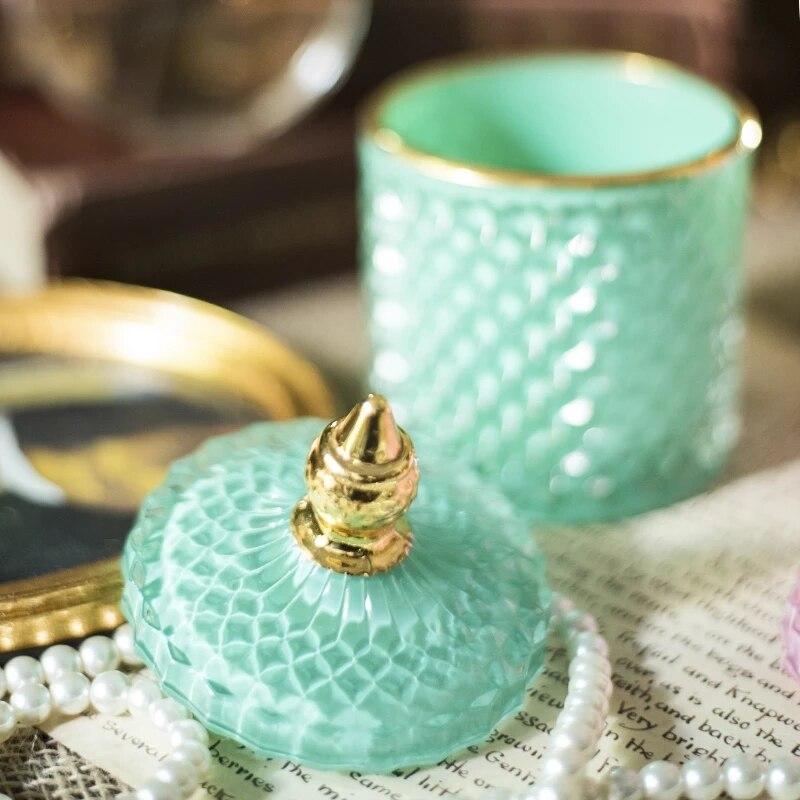 Luxury Multicolor Glass Storage Jar Aromatherapy Bottle with Lid Minimalist Household Cotton Swab Jewelry Storage Box