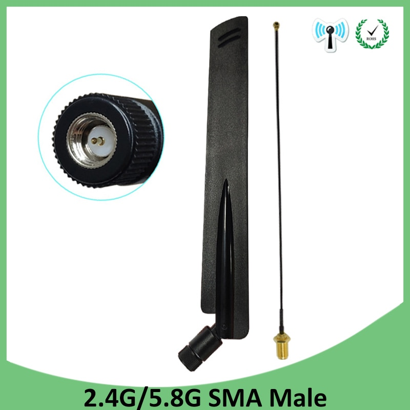 2.4 ghz 5 ghz 5.8 ghz wifi antena 2.4 ghz 8dbi sma conector macho wi fi 2.4g 5g 5.8g antena + 21cm RP-SMA cabo de trança macho