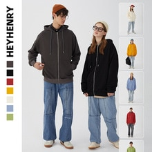 Henry cardigan zipper hooded loose couple's sweater men's and women's solid color basic Korean jacke