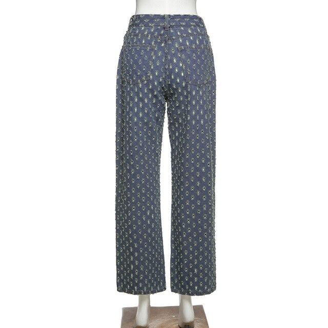 Y2K old jeans, high waist tear jeans, straight blue, hip hop style, retro, 90s street clothes, autumn 10