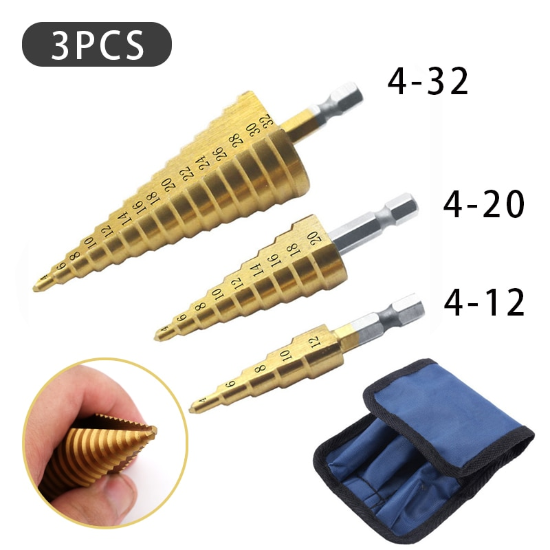 4-12 / 20 / 32mm 3pcs Cloth Bag Titanium Coated Metal Hex Core Drill Bits Hss Step Drill Bit Set Cone Hole Cutter Taper Metric
