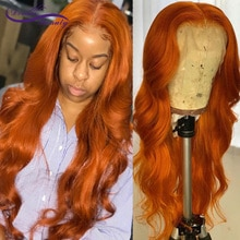 Ginger Orange Colored 13x6 Lace Front Human Hair Wigs 180% Lace Frontal Wigs Brazilian Wigs For Blac