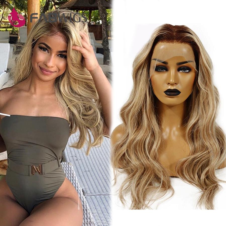 Fabwigs, pelucas de encaje transparente, resaltar Lemi Color T4/27 613, pelucas frontales de encaje, pelucas de cabello humano de Color rubio prearrancado, brasileño