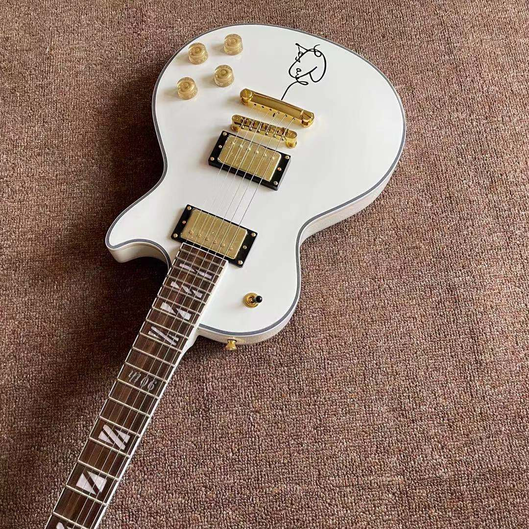 Custom Electric Guitar.White color mahogany body gitaar.high quality pickups.handmade 6 stings guitarra.Golden hardware enlarge