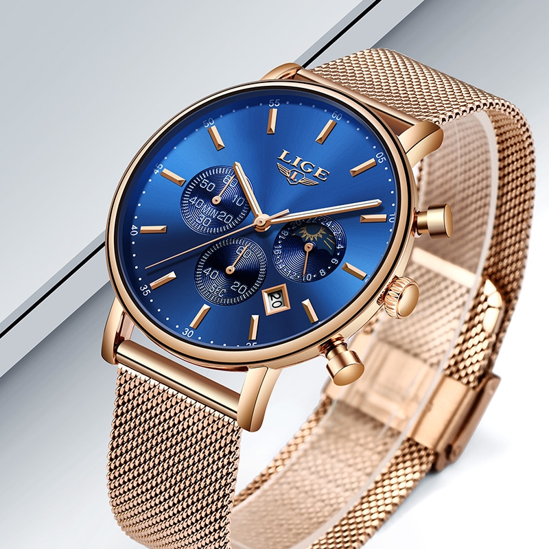 Brand Ladies Quartz Watch Women Dress Watches Luxury  Stainless Steel Mesh Band Rose Gold Waterproof Ladies Watch reloj mujer enlarge