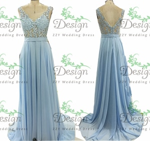 Formal Blue Evening dresses For Women Wedding Scoop Lace Appliqued Natural A-Line Custom-Made Formal Evening Dresses Plus Size