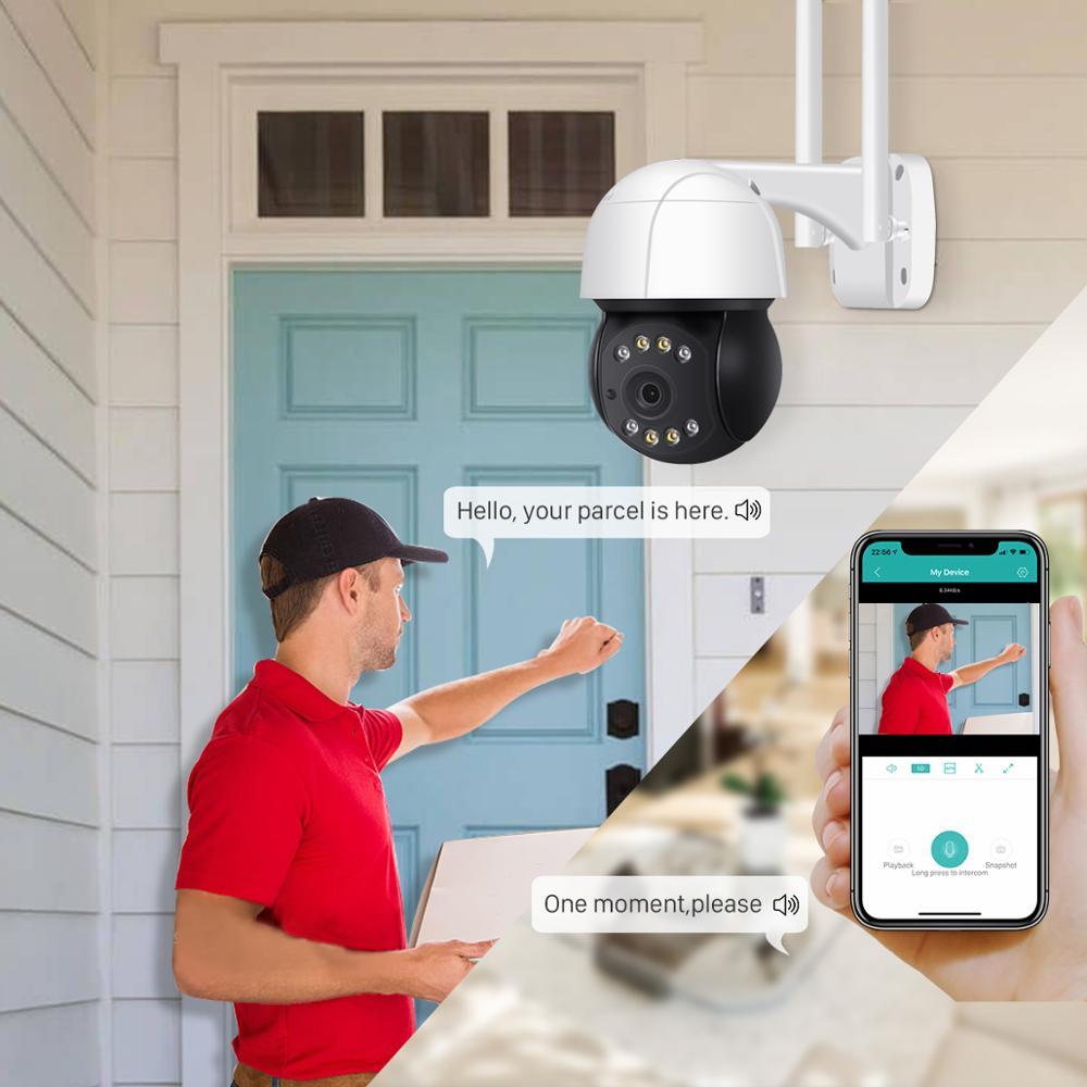 mara IP de 5MP y 3MP para exteriores, videocmara CCTV con seguimiento automtico de Audio y registro, Zoom Digital 4X, enlarge