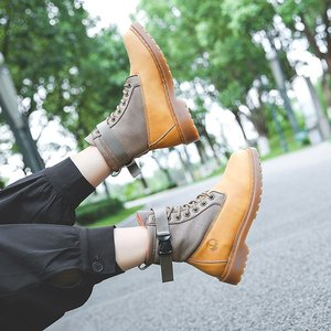 Women's Combat Boots Leather Boots 2021 New Spring Ankle Boots Women's Shoes Platform Lace-up Martin Boots Lovers Couple Shoes