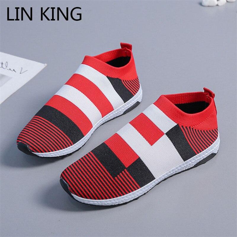 LIN KING moda Casual vulvanizado zapatos mujeres tamaño grande transpirable malla al aire libre zapatillas ligeras señoras pisos zapatillas