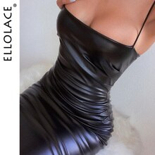 Ellolace Mode Pu Leder Schwarz Midi Kleid Frauen Spaghetti Dünne Kleider Party Elegante Dame Backless Kleider 2019 Sexy Kleidung