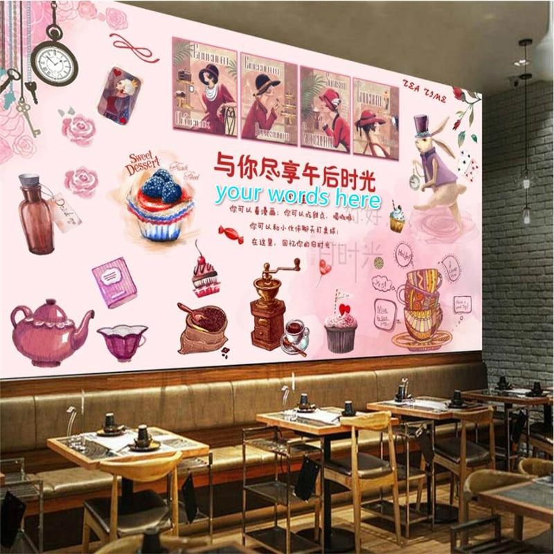 Papel de pared personalizado Rosa acuarela té de la tarde 3D postre casa pastel Snack Bar decoración Industrial Fondo Mural papel tapiz 3D