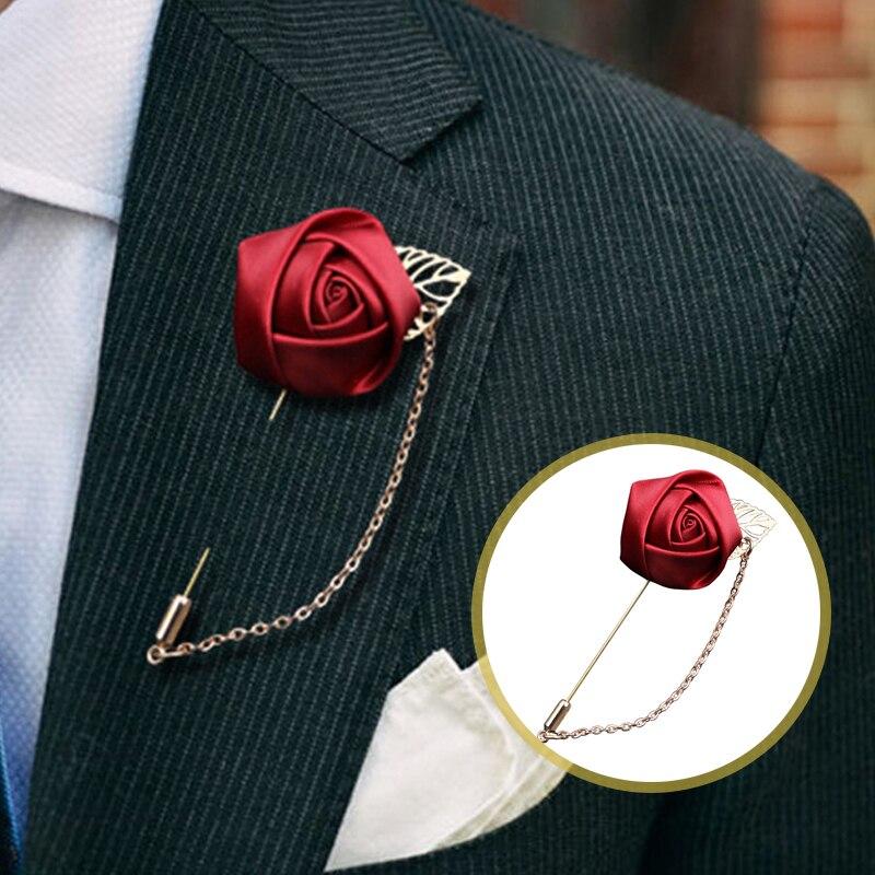 Broche de hoja con flor rosa para hombre y mujer a la moda, Pin Blazer, traje, solapa, fiesta de boda, broche con abalorio, joyería, accesorio para ropa