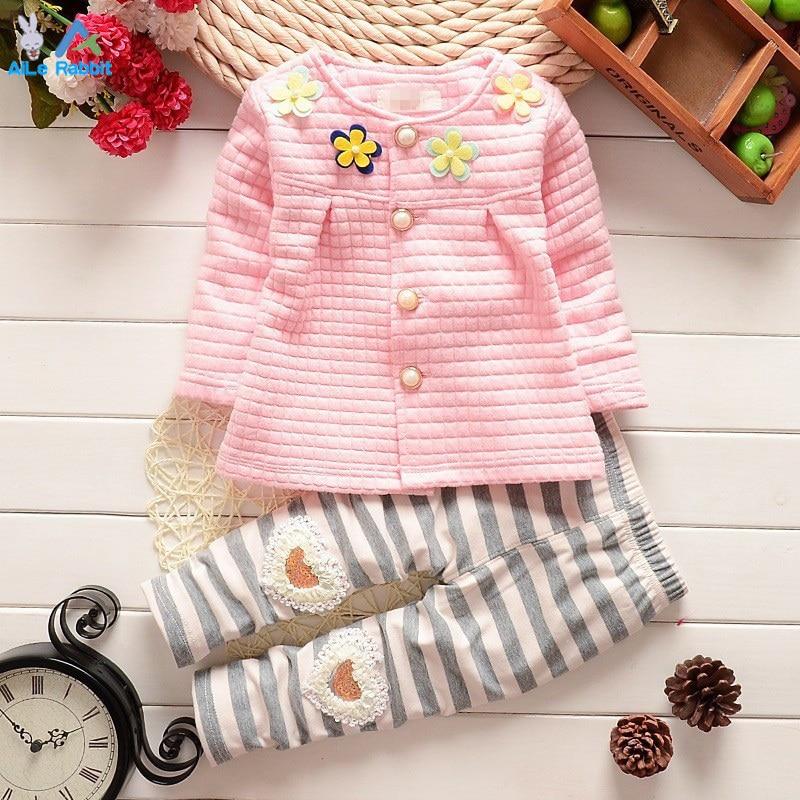 Весенне-осенние детские комплекты одежды для маленьких девочек хлопковый кардиган, костюм, комплект, Детское пальто с цветочным принтом и ш...